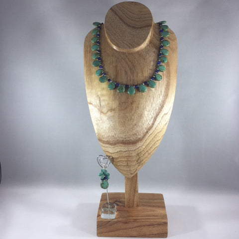 "Picasso Turquoise Teardrop Beads with Blue Cats Eye Pyramid Beads.  Sterling  Necklace 17"".  Earrings included."