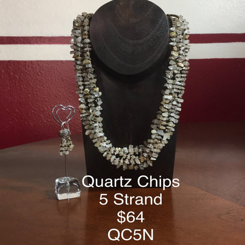 "Hand Strung 5 strand Necklace of Quartz Chips.  9"". Earrings included.  Sterling silver findings."