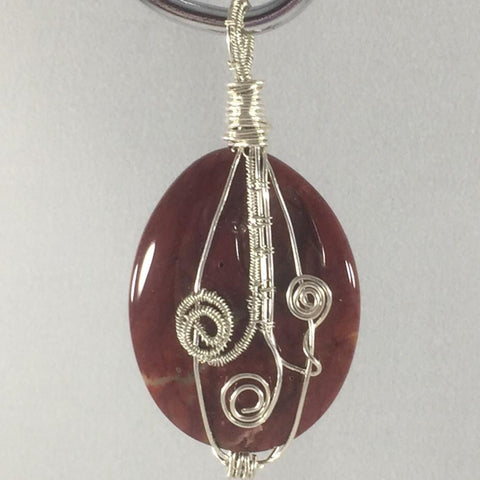 Hand Made Pendant.  Silver Wire Wrapped Red Jasper