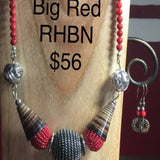 Necklace, Chunky Red with Horn accents, red round beads.