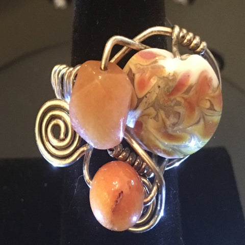 Sterling Wire Wrap, 2 Amber  Glass Beads and 1 Fall colors Glass Bead.  Size 7
