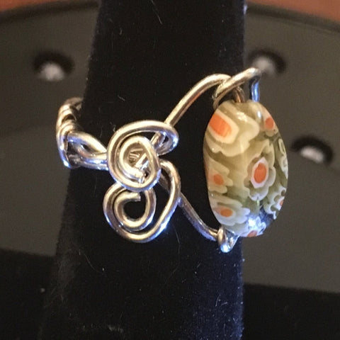 Sterling Wire Wrap, Murano Orange and Green Bead with swirls.  Size 6