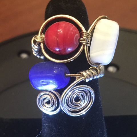 Sterling Wire Wrap, Red, White and Blue Glass Beads. Size 7-1/4
