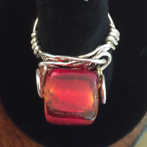 Wire Wrap, Sterling. Large Red Glass Cube Size 7 1/2