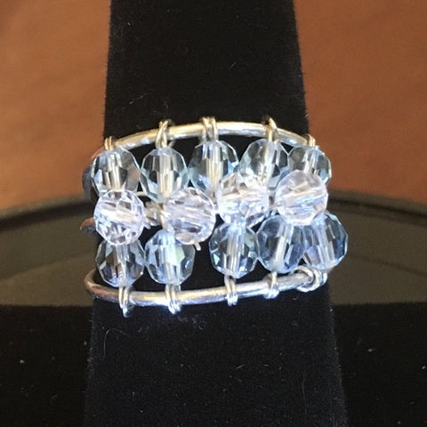 Sterling Wire Wrap,  3 Bands with 14 Pale Blue and Crystal Swarovski Beads.  Size 8 1/2