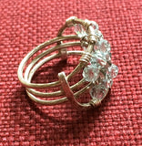 Ring, Sterling Wire Wrap, 10 Pale Blue, and 4 Crystal Swarovski, Size 8-1/2