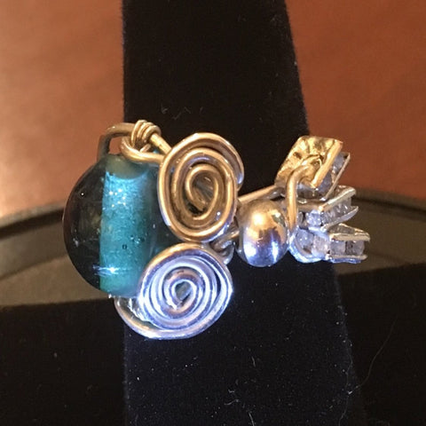 Sterling Wire Wrap, Teal Bead and 3 Square Swarovski Elements.  Size 7.5