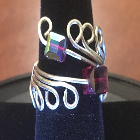 Sterling Wire Wrap, 2 Swarovski Amethyst Cubes.  Size 8
