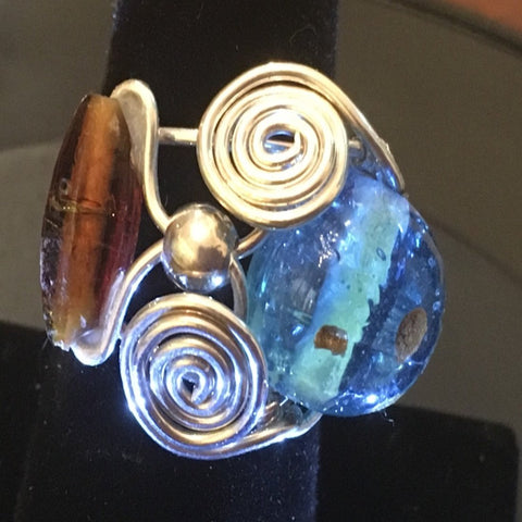 Sterling Wire Wrap, Turquoise Lampwork and Topaz Glass Beads. Size 10