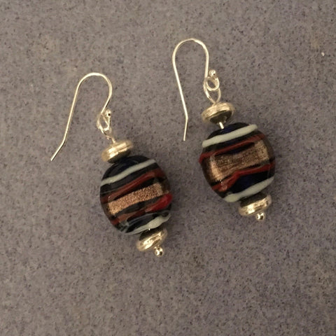 Pierced earrings.  Murano Swirl Beads. Sterling ear wires