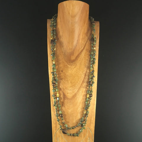 "Necklace, 62"" with Woodsy Color Green Beads.  Wrap-around.  Matching Pierced Dangle Earrings on Sterling Ear Wires Included."