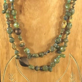 "Necklace, 62"" with Woodsy Color Green Beads.  Wrap-around.  62"""