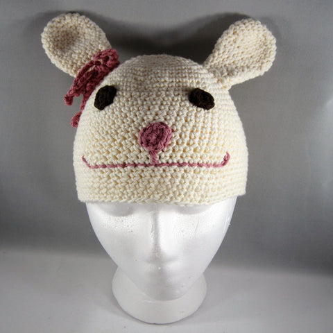 Cream Bunny Hat with Pink Bow. Cotton yarn. Size Large, 18mos to 5yrs.  Amigurumi pattern.  Machine wash gentle cold.  Do not put in dryer.