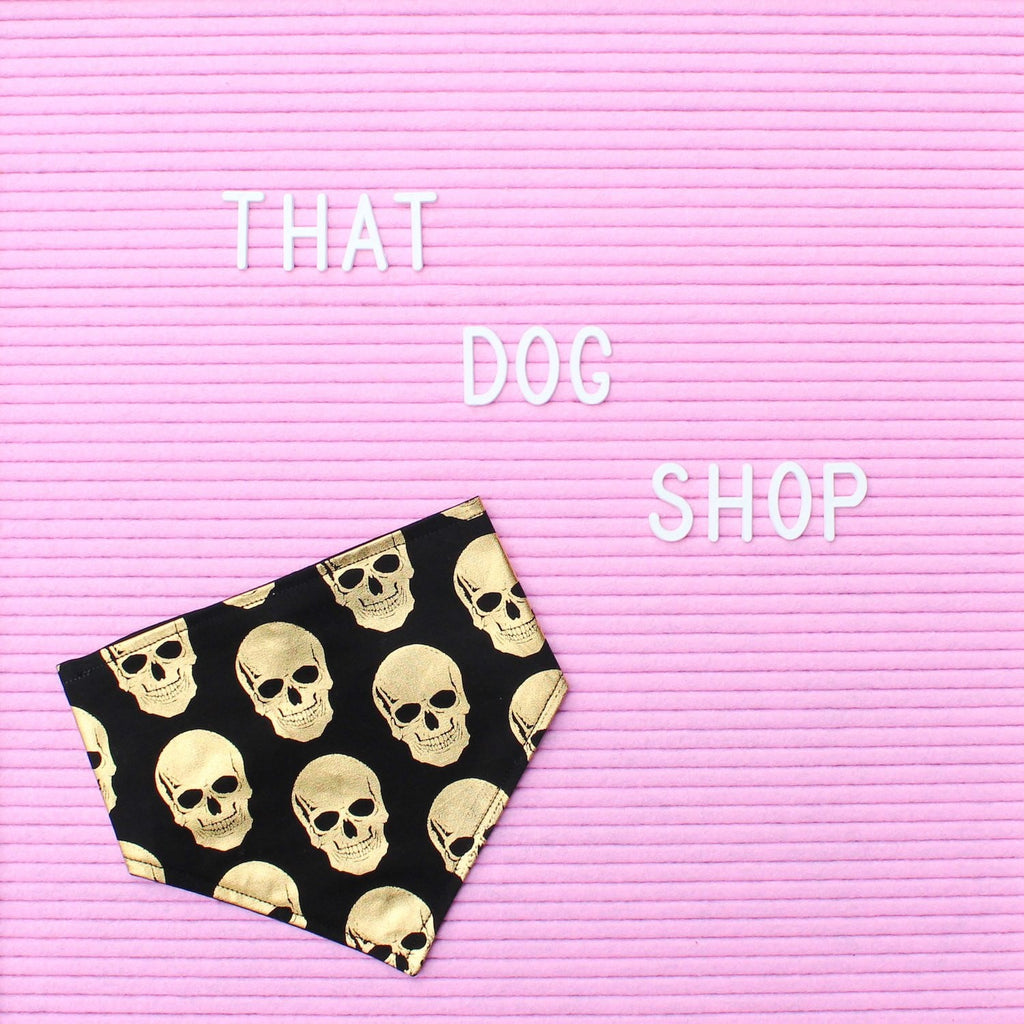Dog Bandana - Black/Gold Skull Print by That Dog Shop - We have Afterpay!