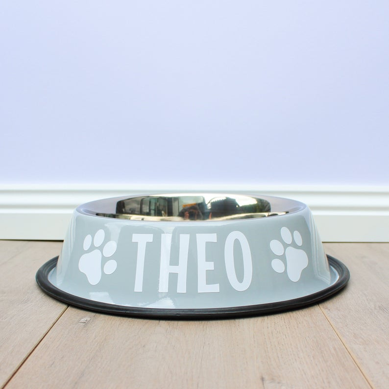 Personalised Light Grey Stainless Steel Dog Bowl