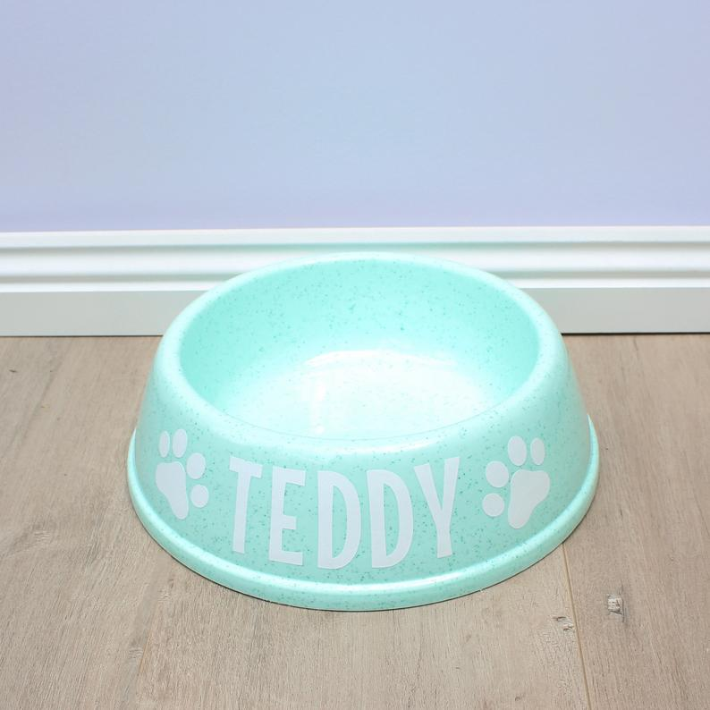 Personalised Mint Green Plastic Dog Bowl