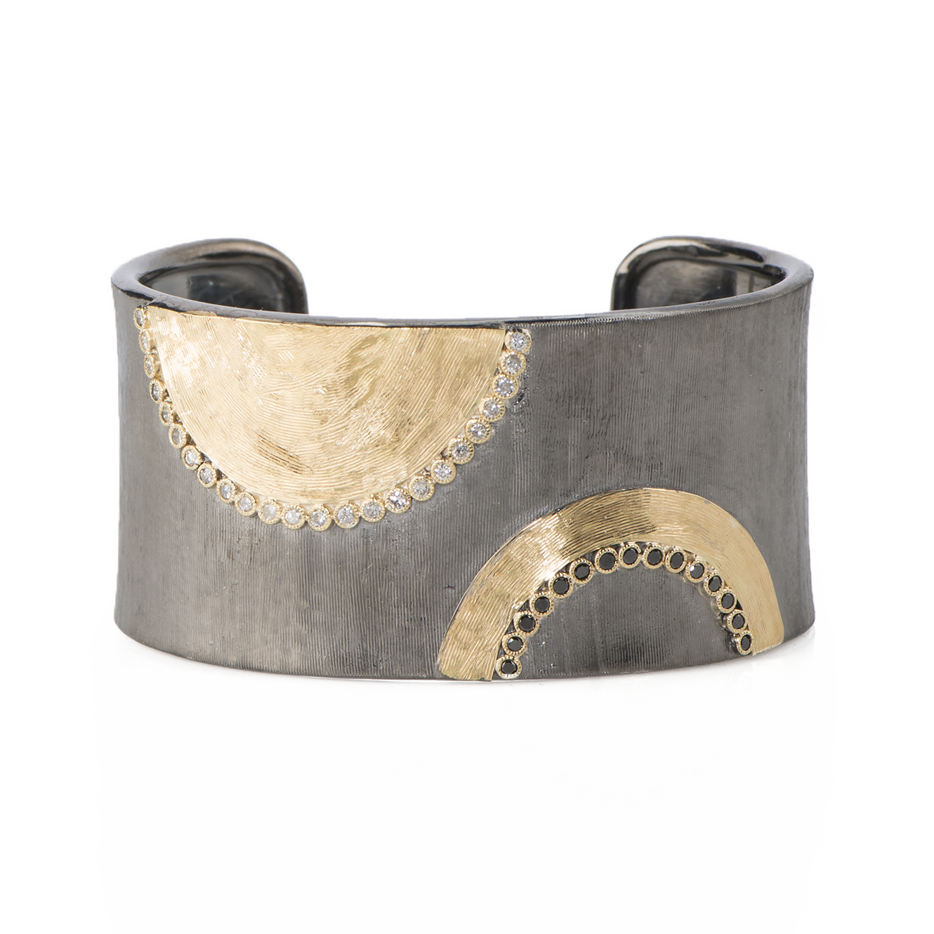 SILVER & YELLOW GOLD CUFF BRACELET WITH BLACK DIAMOND