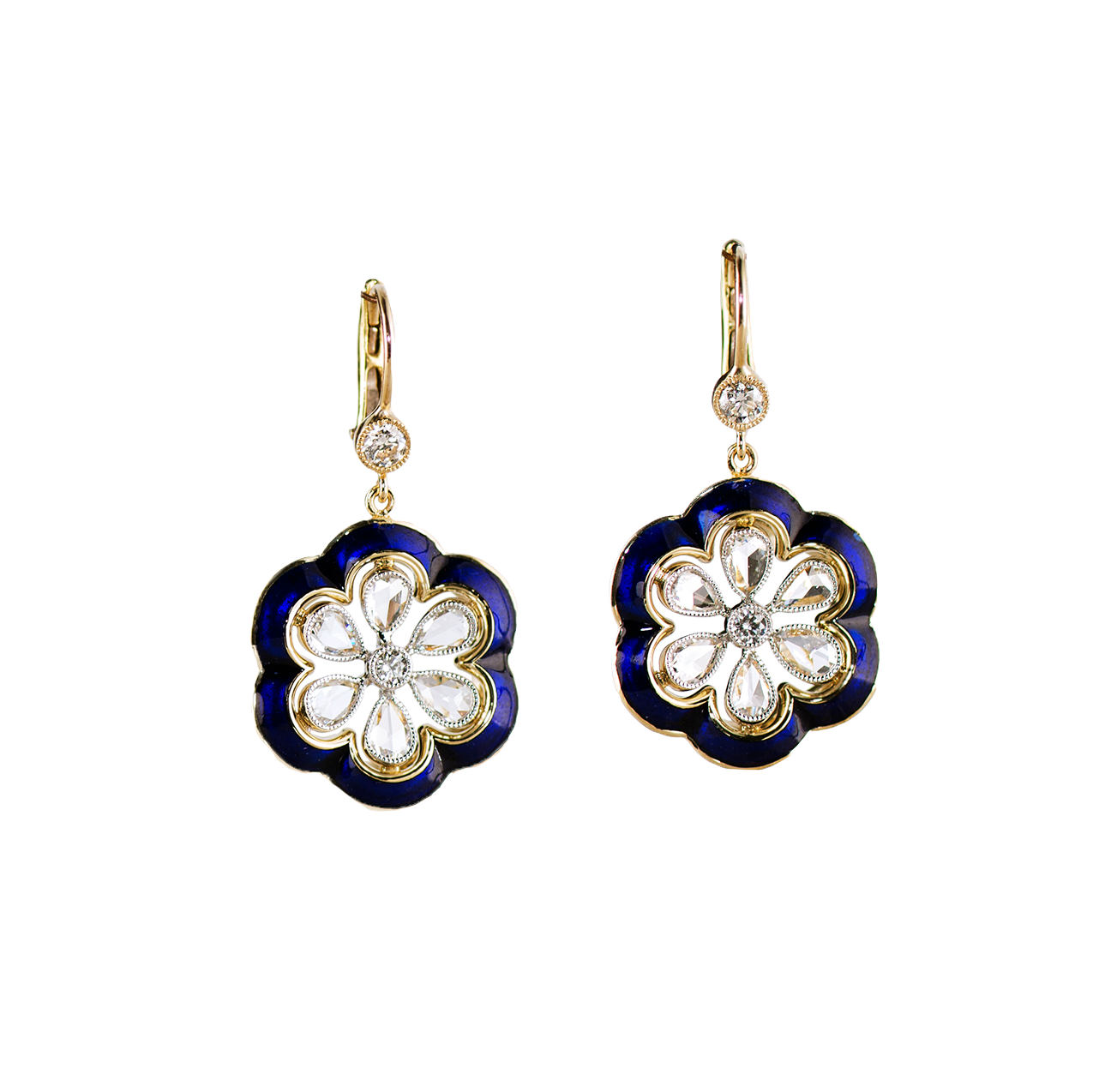 DIAMOND AND ENAMEL FLOWER EARRINGS