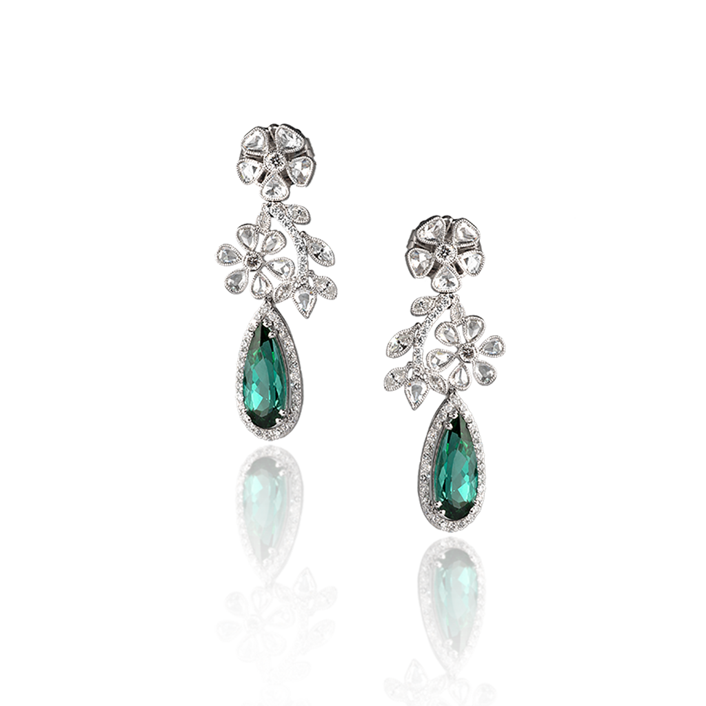 DIAMOND AND GREEN TOURMALINE DROP EARRINGS
