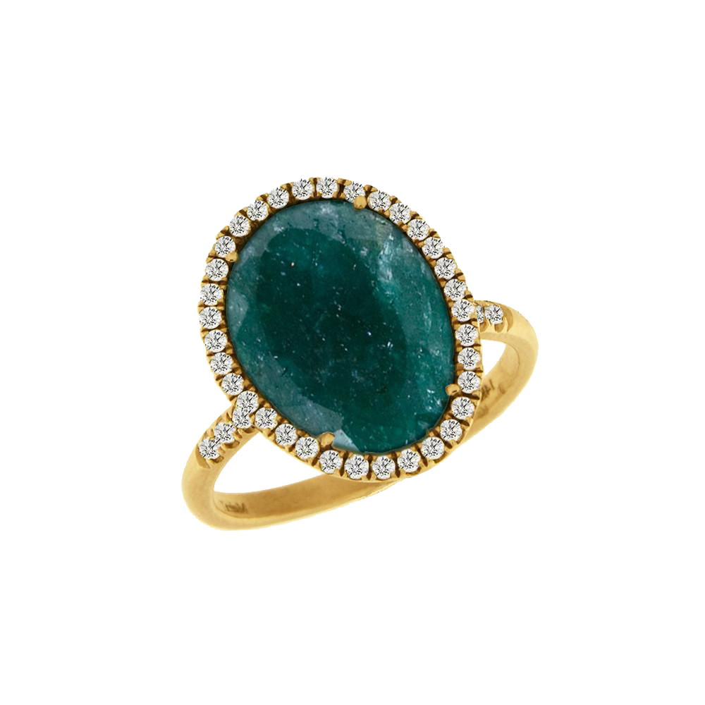 Rough Emerald Yellow Gold and Diamond Ring
