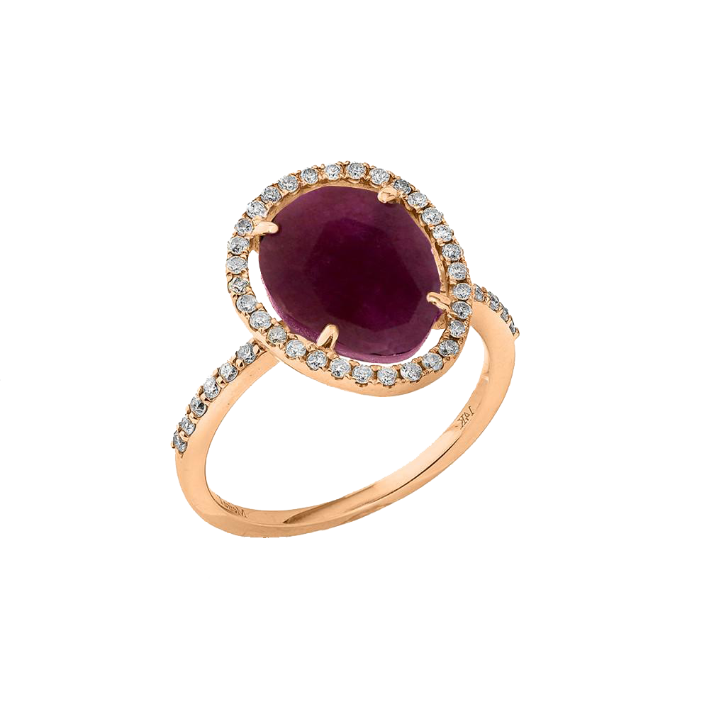 Ruby Diamond Border and Band Ring