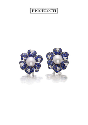 PICCHIOTTI PEARL, SAPPHIRE AND DIAMOND FLOWER EARRINGS