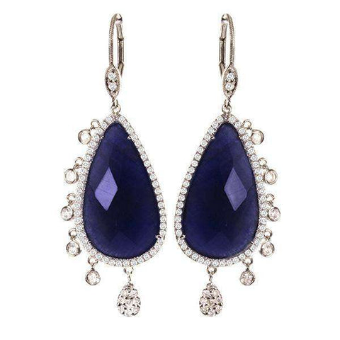 Meira T Long Sapphire Earrings With Bezels