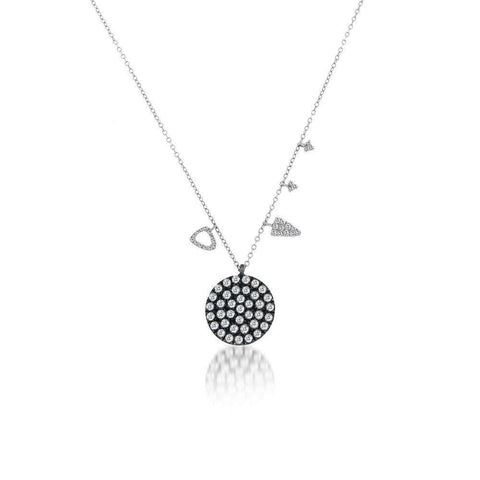 MEIRA T BLACK RHODIUM &  DIAMOND CIRCLE NECKLACE