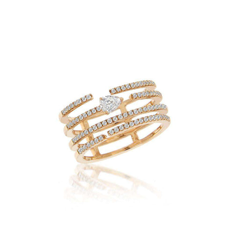 Meira T Rose Gold and White Topaz Diamond Ring