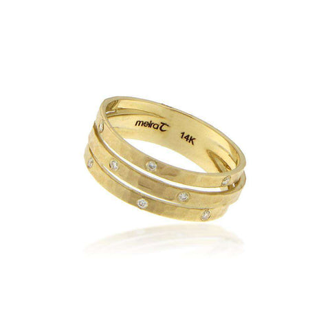 Meira T Multiple Band Brushed Gold and Diamond Ring