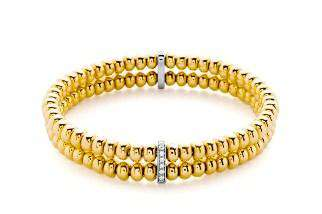 HULCHI BELLUNI GOLD DOUBLE DIAMOND BEAD BRACELET