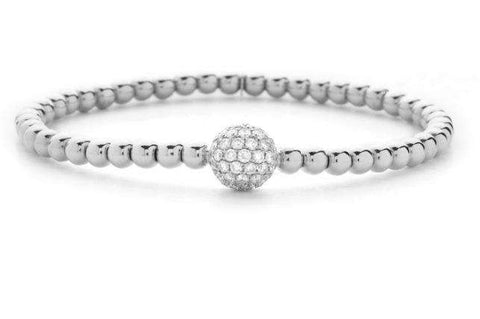 HULCHI BELLUNI WHITE GOLD & DIAMOND BEAD STRETCH BRACELET