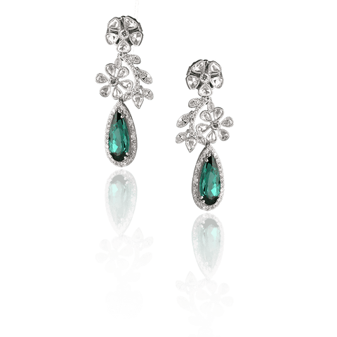 JOHN APEL GREEN TOURMALINE AND DIAMOND EARRINGS