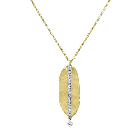 Meira T Hammered Yellow Gold Leaf Necklace