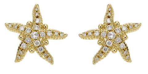 Temple St. Clair Diamond & Yellow Gold Sea Star Stud Earrings