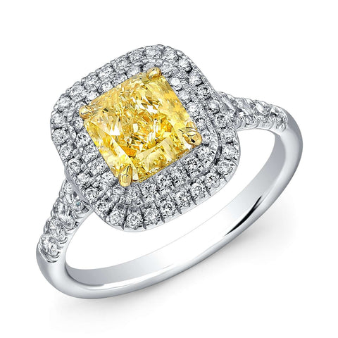 Norman Silverman Cushion Cut Fancy Yellow Solitaire Engagement Ring
