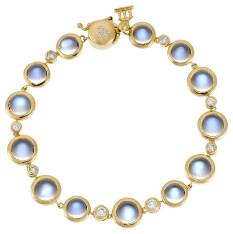Temple St. Clair Round Moonstone and Diamond Yellow Gold Bracelet