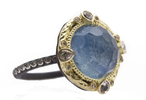 Armenta Round Midnight Ring With Kyanite/Quartz