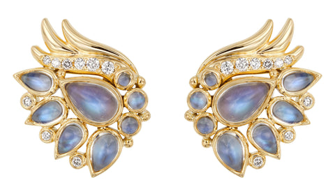 Temple St. Clair Moonstone and Diamond Wing Earrings