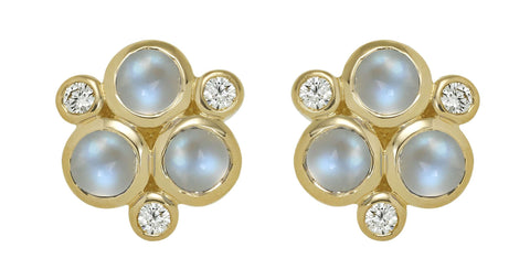 Temple St. Clair Gold Moonstone and Diamond Trio Earrings