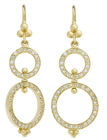 Temple St. Clair Diamond Encrusted Double Loop Drop Earrings