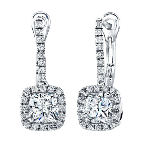 Norman Silverman  Cushion Cut Diamond Dangle Earrings