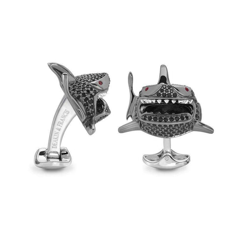 Deakin & Francis Black Spinel Shark Cufflinks