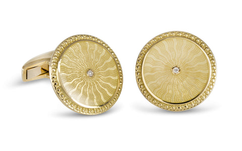 Deakin & Francis Yellow Gold Round Cufflinks
