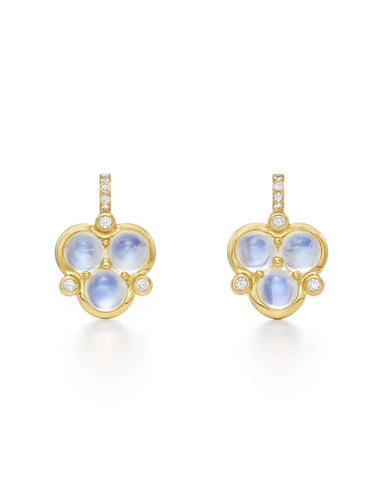 Temple St. Clair Trio Blue Moonstone and Diamond Earrings