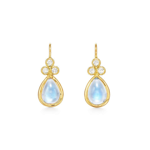 Temple St. Clair Diamond and Blue Moonstone Raindrop Earrings