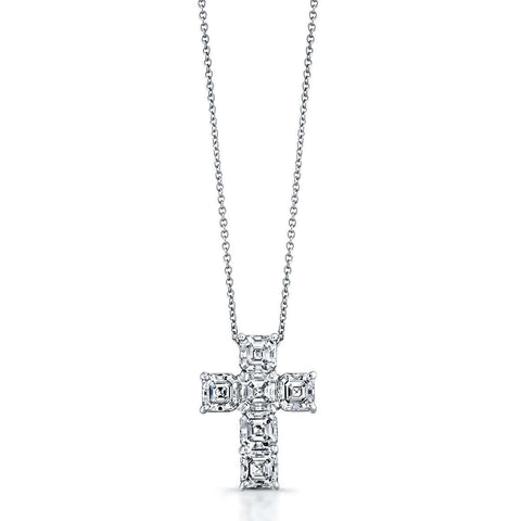 Norman Silverman Asscher Diamond Cross Pendant