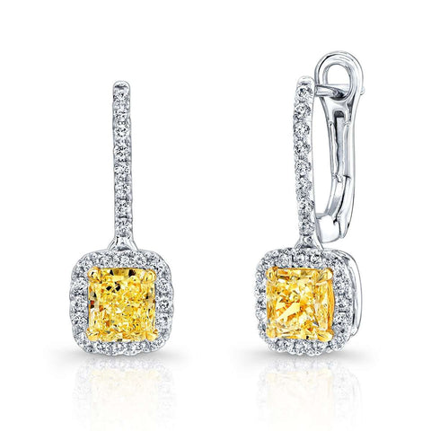 Norman Silverman Fancy Yellow with Diamond Pave Dangle Earring