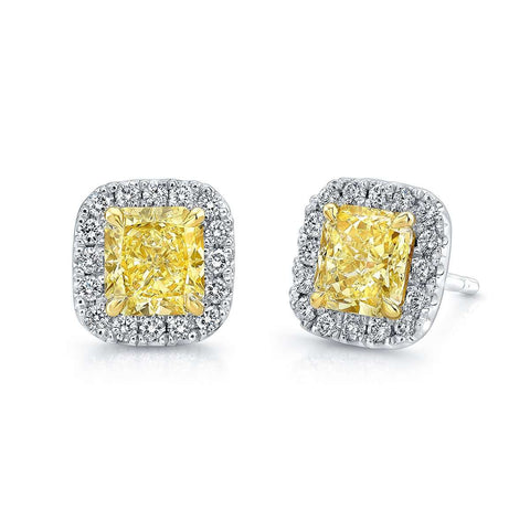 Norman Silverman Yellow Radiant diamonds with Pave Halo Stud