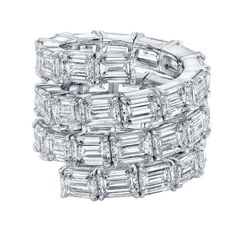 NORMAN SILVERMAN EMERALD CUT DIAMOND SPIRAL BAND